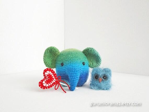 Elephant amigurumi kawaii petite size collectibles and mini fuzzy owl no. 26 - Ready to Ship