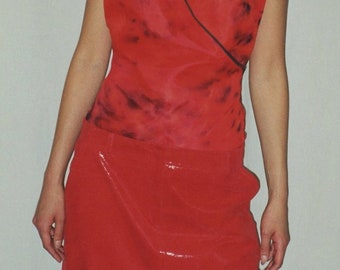 SALE. Glossy RED Leather Skirt. Red Laminate Leather A-Line Skirt w.Pockets. Structured Leather Skirt.