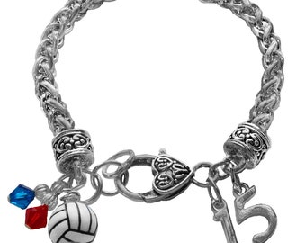 Personalized Volleyball Charm Bracelet, Team Color Swarovski Bracelet, Jersey Number Charm Bracelet, Volleyball Mom Jewelry,(Made to Order)