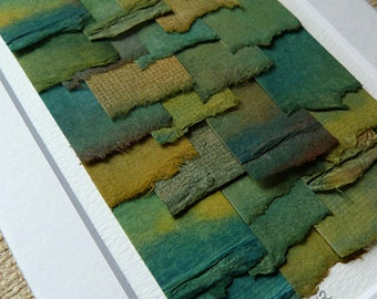 Turquoise Green Blue Brown and Gold Shades Create This Original Torn Paper Collage