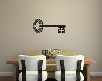 Ornate Skeleton Key Removable Vinyl Wall Art, wall art sticker key wall sticker skeleton key wall sticker key wall decal