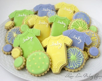 baby shower cookies birth announcem ent unisex baby outfit decorated