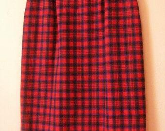 Pencil Skirt Tartan Plaid Vintage Pendleton 100% Wool