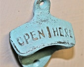 Aqua Blue Bottle Opener /Cast Iron /Vintage, Retro Feel /Kitchen, Man-cave, Game Room, Patio, Hangout /Metal Wall Decor