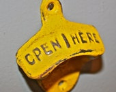 Sunny Yellow Bottle Opener /Cast Iron /Vintage, Retro Feel /Kitchen, Man-cave, Game Room, Patio, Hangout /Metal Wall Decor