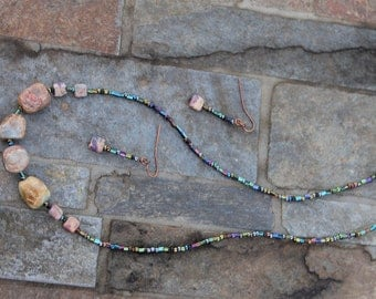 Muted Peruvian opals on a multicolored glass bead necklace with matching earrings