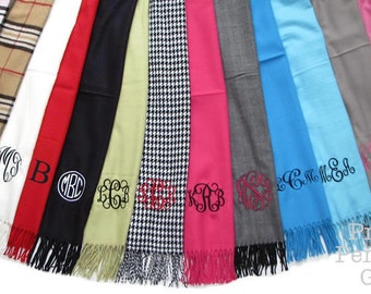 Scarves Personalized -  Scarf Personalized and Monogrammed - 34 colors