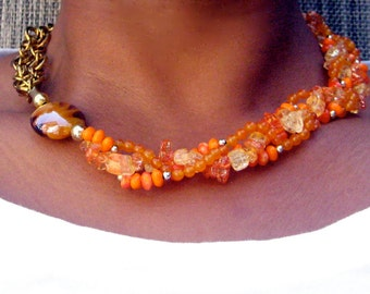 A Touch of Gold-Orange, Quartztite and Glass