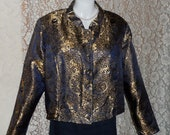 Brocade Nehru Jacket Royal Blue and Gold Brocade Jacket with Blue Satin Lining Large Size Evening Wear Formal Fab