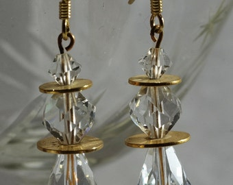 Crystal and Gold Disk Dangle Earrings