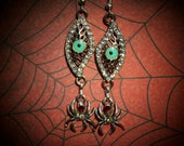 Hand Made OOAK The Evil Eye Earrings with Black Widow Spider