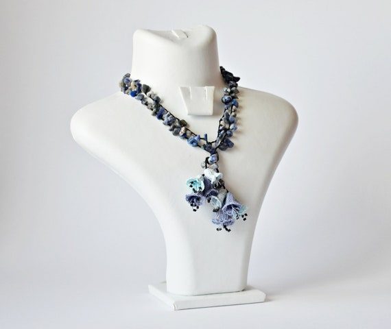 Crochet Necklace Blue Bellflowers Blue Gray Crochet 3 D Bellflowers Oya Beaded Jewellery, Beadwork, Crochet ReddApple, Fast Delivery