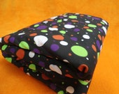 "SALE Dots Baby Blanket, Ultra Cuddle Fabric, Boys and Girls, Stroller Blanket, Car Seat Blanket,  35"" x 29"" Green Orange Purple Dots"