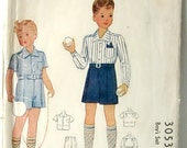 Vintage Mc Call pattern ... Boy's suit blouse and short, number 3053, 1940s