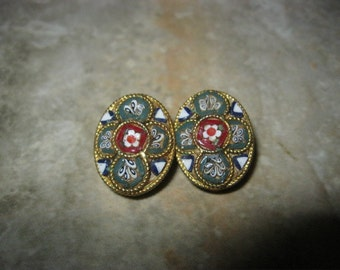 Antique Italian Micro Mosaic Glass Clip On Earrings - Italy