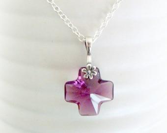 Purple Crystal Necklace - Swarovski - Womenl Necklace - Purple Crystal Cross - Violett Glass Pendant