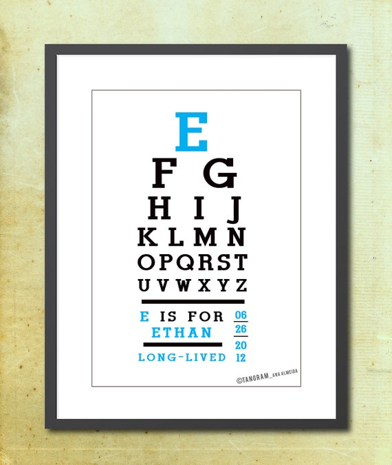 Eye Chart birth poster. Baby Boy Nursery wall art, Baby Girl Poster. Name Meaning. Custom art Print, Birth A3 Poster. Typography. Kids room
