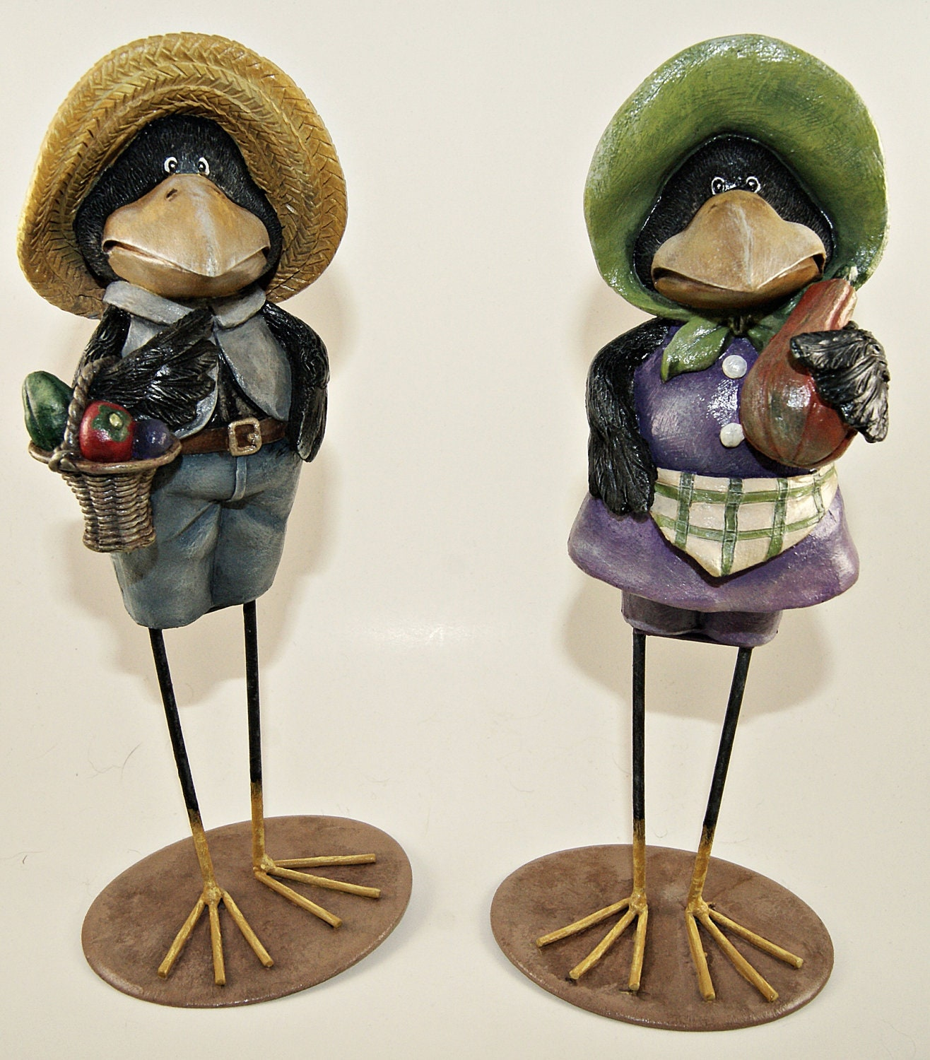 Home Decor Two Hand Painted Resin Crow Figurines Part Of
