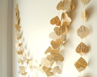 Old book paper garland, Wedding decoration,  Paper heart garland, ivory paper garland,  Birthday Party Garland, home decor