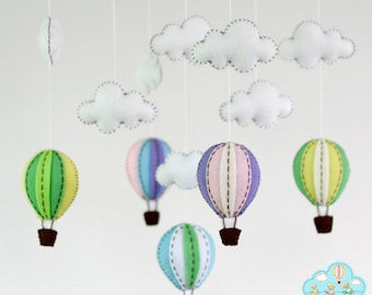 Balloons baby crib mobile-Balloons hanging mobile-Hot air balloons mobile-Balloons in the sky