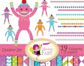 Socks Monkeys Digital clip art set scarfs crochet tasseled cap chevron elements Own Original Clipart Graphics & Digital Papers pf00040-4