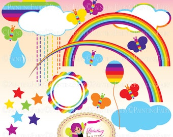 Cliparts Colorful Rainbow clip art Rainbows Clouds Butterflies Raindrop designer elements Girls Boys Kids Babies digital images pf00001-8