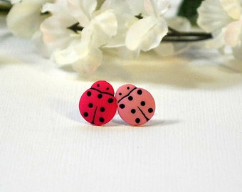 Ladybug Earrings, Small Button Earrings, Miss Matched Pink Posts