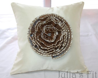 Silk Rose Pillow Cover in Ivory, Iridescent Brown, Pearl Beads OOAK