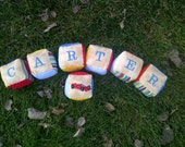 Custom Plush Baby Blocks, Embroidered, Soft Flannel Prints, Personalized with Child's Name, Nursery Decor
