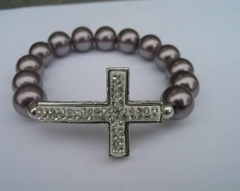 Sideways cross bracelet with clear diamond style encrusted beads - side cross bracelet - side cross jewelry - grey side cross bracelet
