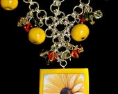 Handmade White Daisy Yellow Clay Photo Pendant Chain Maille Mail Necklace Crystals Customize Personalize