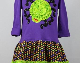 Girls Halloween spider T-shirt dress pdf sewing pattern cat jack-o-lantern toddlers HALLOWEEN TREATS