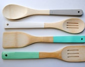 """You Choose Your Colors - Set of 4 Dipped 12"""" Light Bamboo Slotted Solid Kitchen Servers Cooking Spoons & Spatulas"""