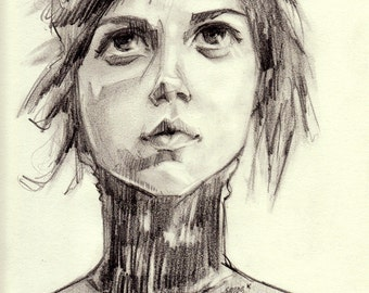 Original Drawing - Portrait Girl Looking up to the Sky