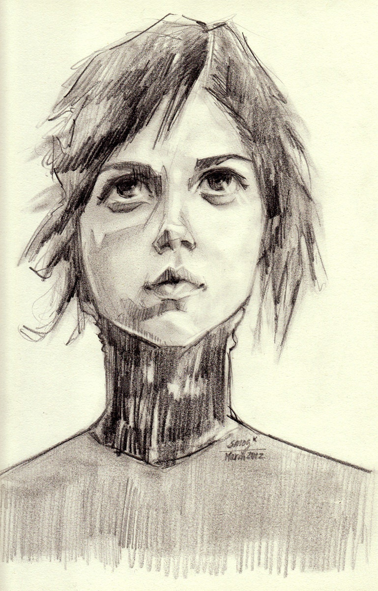 Original Drawing Portrait Girl Looking Up To The Sky