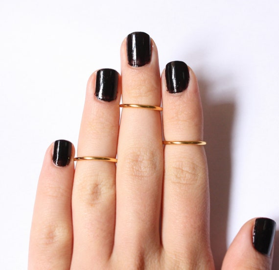 3 Above the Knuckle Gold Plated Rings - set of 3 stack midi rings rings