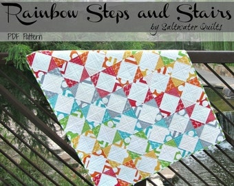 Half Square Triangles - Rainbow Steps and Stairs - Instant Download PDF Pattern