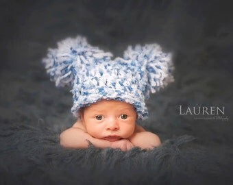 CLEARANCE Baby Boy Hat CUTE Newborn Baby Boy Crochet knit Chunky Double Pom Pom / Sack Hat Boy & Girl colors