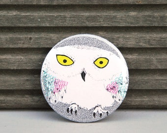 Snowy Owl pocket mirror - Perfect Christmas stocking filler - Mix media - Handmade by Squish-n-Chips