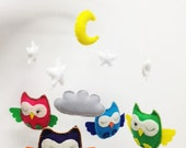 Baby Mobile - Sleepy Owls MADE to ORDER - PrincessAllipops