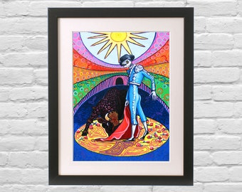 Day of the Dead Art Matador Bullfighter Bones Nelson Print. Skeleton El Catrin Mexican Folk Art gift for him Retro Hipster Wall Decor