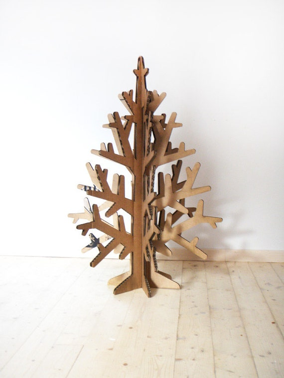 laser-cut recycled cardboard christmas tree, Holiday decoration 90 cm / 2,9'