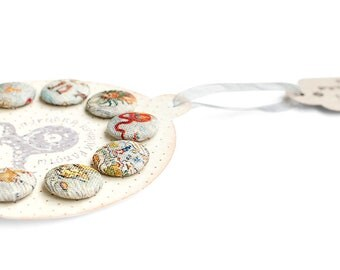Fabric covered buttons handmade round grey Buttons medieval vintage style Map detailed and fun