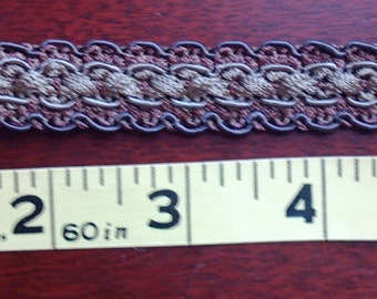 Tan & Brown Flat Braid Trim, 1/2 Inch Wide, BY the YARD, by Conso, For Pillows, Costumes, Curtains, Upholstery, Home Decor Braid,  India