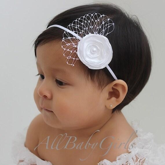 Baptism Headband, White Baptism Headband, Vintage Headband for Baptism, Flower Headband, Wedding Headband, Baptism Headpiece