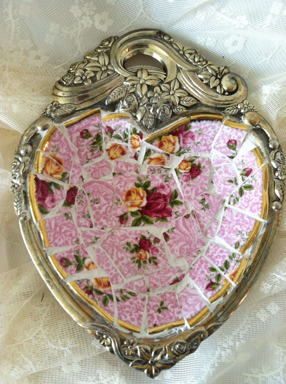 mosaic heart dish with royal albert china by
