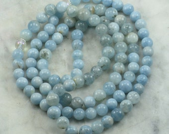 Winter Ayurvedic Mala Bead Necklace- Aquamarine  - Silver Tree of Life Charm -  108 Mala Beads - Buddhist Prayer Beads - Pitta Dosha