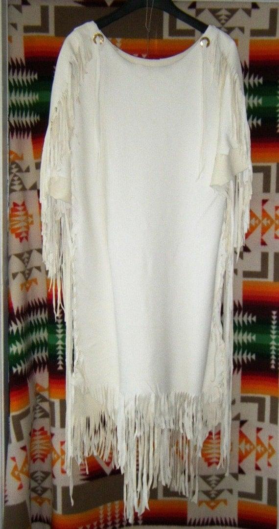White Leather Deerskin Wedding Dress Native American Style