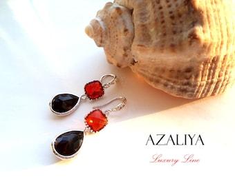 Black & Red Earrings Silver Vermeil. Zirconia Hooks Dangles. Faceted Stone Chandeliers. Azaliya Luxury Line Jewelry. Gifts.