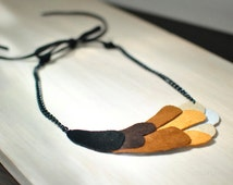 Eco friendly brown ombre necklace from scrap leather/ OOAK necklace.